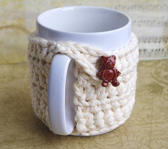 stunning couvre tasse blanc cass bouton ours ourson housse de protection en coton dcoration pour. Black Bedroom Furniture Sets. Home Design Ideas