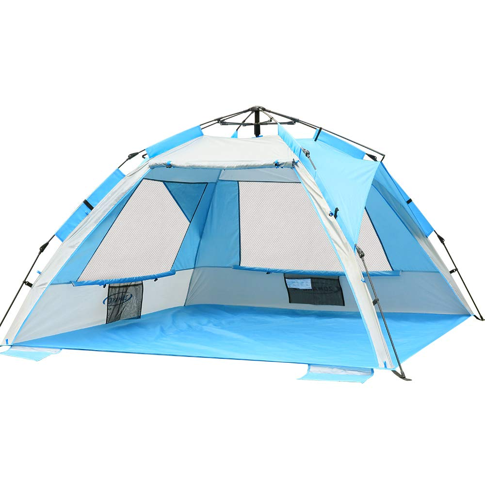 ZOMAKE Pop Up Beach Tent - Instant Sun Shelter Cabana, Portable Beach Shade with SPF 50+ UV Protection for Kids & Family(Silver) by ZOMAKE