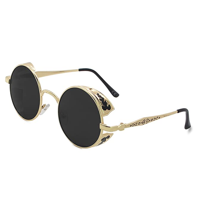 AMZTM Retro Steampunk Pequeña Redondas Gafas De Sol Polarizadas Hombre Mujer Moda Lente Reflejada Marco de Metal Gafas de Conducción Protección UV400