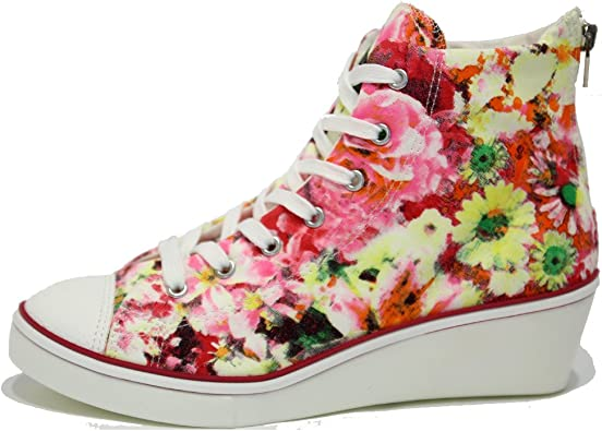 Womens Floral Canvas Wedge Sneakers