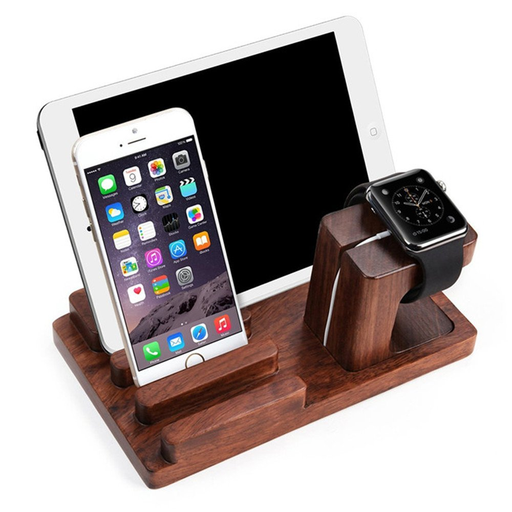 IYUNYI Multi-Device Charging Station Dock & Organizer - Multiple Finishes Available. for Tablets, Phones and iWatch - Strong Build, Eco-Friendly Bamboo with 4 USB Ports