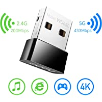 Cudy AC 650Mbps USB WiFi Adapter for PC, 5GHz/2.4GHz WiFi Dongle, WiFi USB, USB Wireless Adapter for Desktop/Laptop - Nano Size, Compatible with Windows XP/7/8/8.1/10, Mac OS