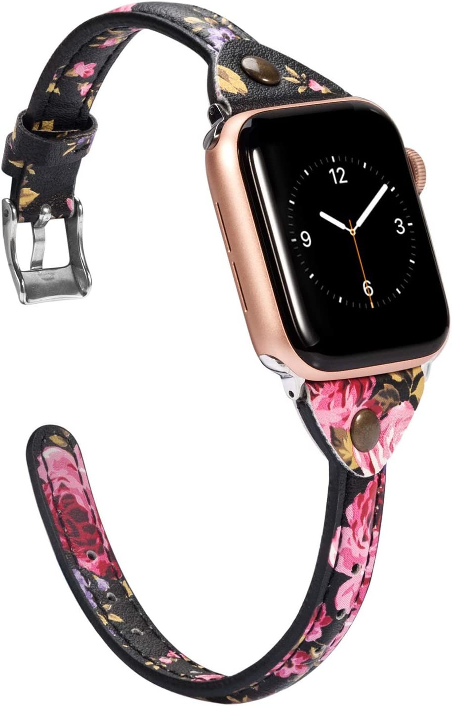 Wearlizer Floral Thin Leather Compatible with Apple Watch Bands 38mm 40mm for iWatch Womens Flower Printed Wristband Leisure Rivet Sport Bracelet (Silver Clasp) Series 6 5 4 3 2 1 Sport¡