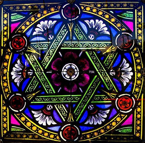 David Stained Glass Print (LAMINATED 24x24 inches Poster: Vitrage Stained Glass Church Window Star Artfully Old Window Architecture Faith Glass Window Judaism Ornament Decorative Ancient Art Building Window Church)