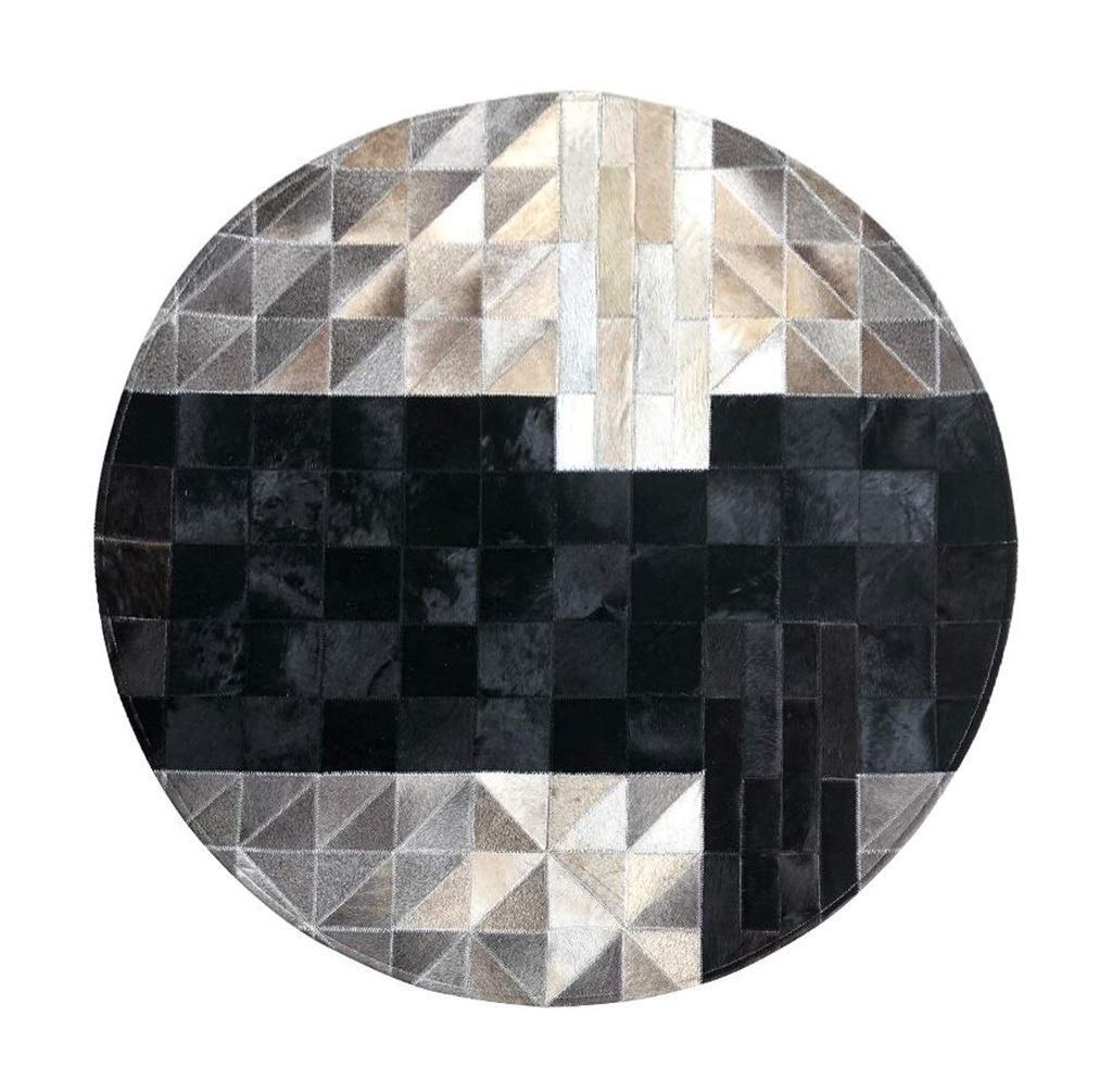 北欧スタイル牛革敷物ラウンドハンドステッチレザーエリアラグ用リビングルームソファコーヒーテーブルマット家の装飾カーペット - 黒150センチ (サイズ さいず : Diameter180cm) Diameter180cm  B07QKJRS2P