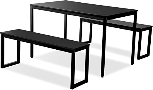3-Piece Modern Soho Dining Set Kitchen Tables with Two Benches,  Contemporary Home Furniture, Steel Frame, (Black)