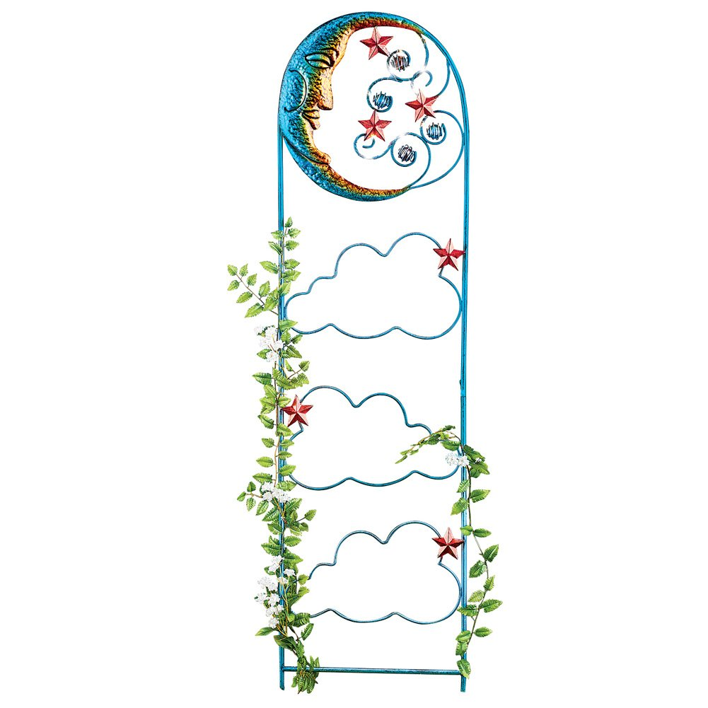 Celestial Moon & Clouds Garden Trellis Panel with Solar Lights - For Climbing Plants, Vegetables