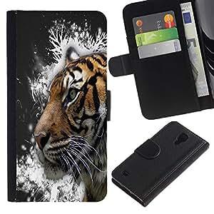 Paccase / Billetera de Cuero Caso del tirón Titular de la tarjeta Carcasa Funda para - Tiger Snow Crystals Painting Grey - Samsung Galaxy S4 IV I9500