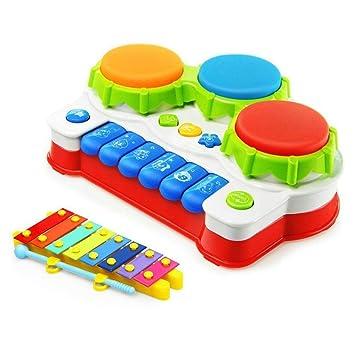 Instrumentos musicales para bebés mano tambor Piano con xilófono divertido juego de niños juguetes música para