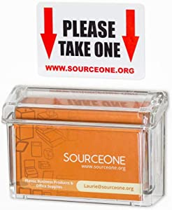 SOURCEONE.ORG Source One Premium Outdoor Business Card Holder Peel and Stick Clear Unbreakable Take One Sticker Included
