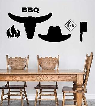 Adhesivos de pared decorativos Extraíbles Caracteres Barbacoa Americana Barbacoa Comedor Restaurante estufa fuego cabeza de toro sombrero y cuchillo: ...