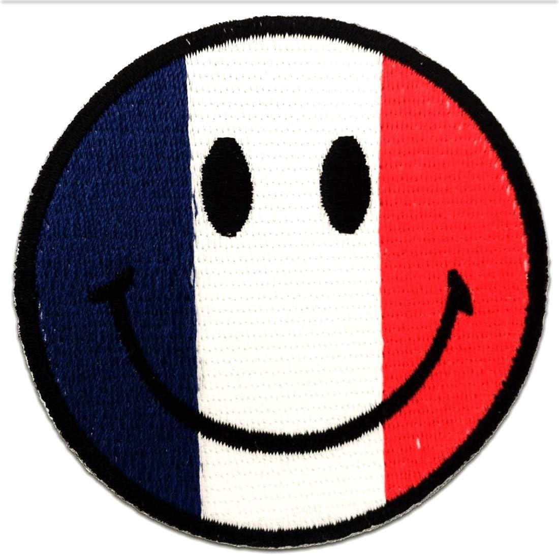 bleu//rouge /Ø 7,5cm France Smiley drapeau banni/ère patches brode appliques embroidery thermocollant Ecusson