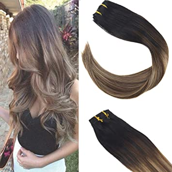 Sunny Clip In Balayage Hair Extensions 18 Inch Ash Blonde Balayage Clip In Extensions Human Hair Silky Straight Natural Black Fading To Brown And Ash