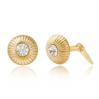 47d03e358 9ct yellow gold geometric circle crystal Andralok stud earrings / Gift box:  Amazon.co.uk: Jewellery