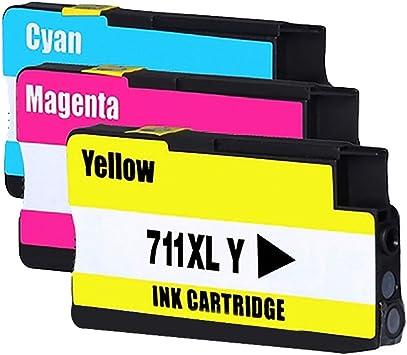 Bosumon Compatible para HP 711 XL HP711 Cartuchos de tinta Gran Capacidad para HP designjet T120 HP designjet T520 Series (1 Cian,1 Magenta,1 Amarillo): Amazon.es: Oficina y papelería
