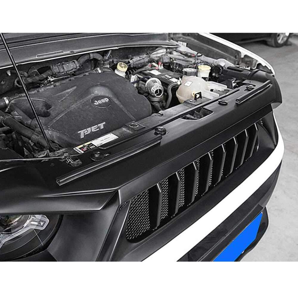 QQKLP ABS Negro UNPAINT Car Racing PARAGOLPES REJAS Rejilla Redonda Trim Cubierta FIT para Jeep Renegade 2016 2017 2018 2019