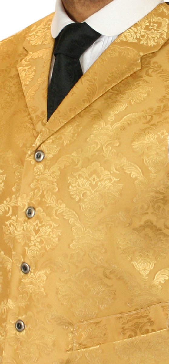 Historical Emporium Men's Satin Floral Dress Vest S Gold by Historical Emporium (Image #2)