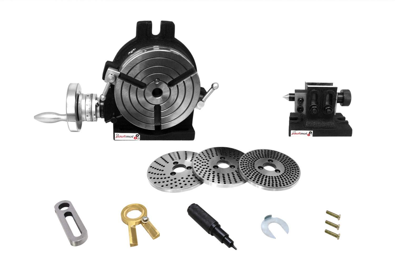 PAULIMOT Teilapparat-Set mit Rundtisch /Ø 150 mm Reitstock und Teilscheiben