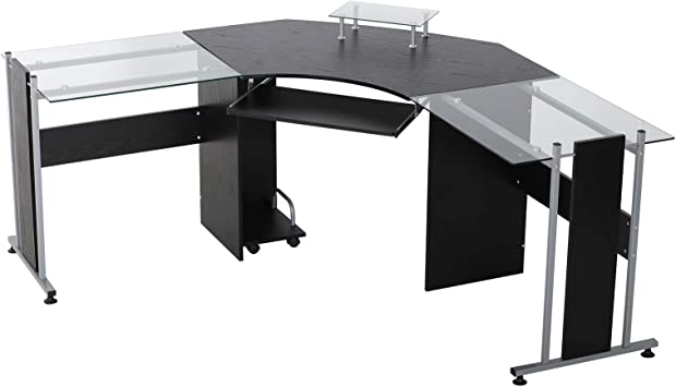 Amazon Com Homcom L Shaped Corner Computer Desk Gaming Table Home