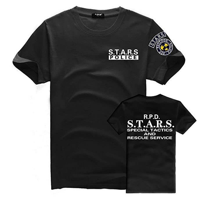 Resident Evil S.T.A.R.S – Camiseta con logotipo camiseta corto, 0Black, Medium