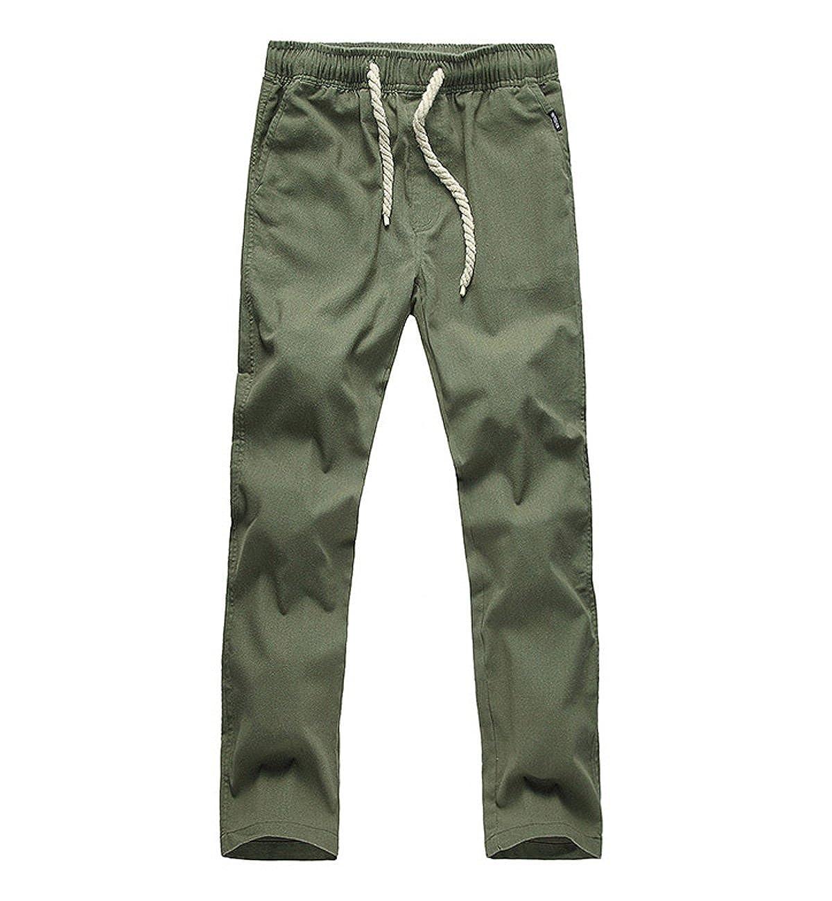 TALLA L/EU M. Surenow Pantalones de Lino para Hombre Cómodo Largo Cintura Elástica Casual