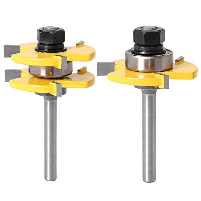 Tongue And Groove Set Of 2 Pieces 1//4 Inch Shank Router Bit 3 Teeth Adjustable