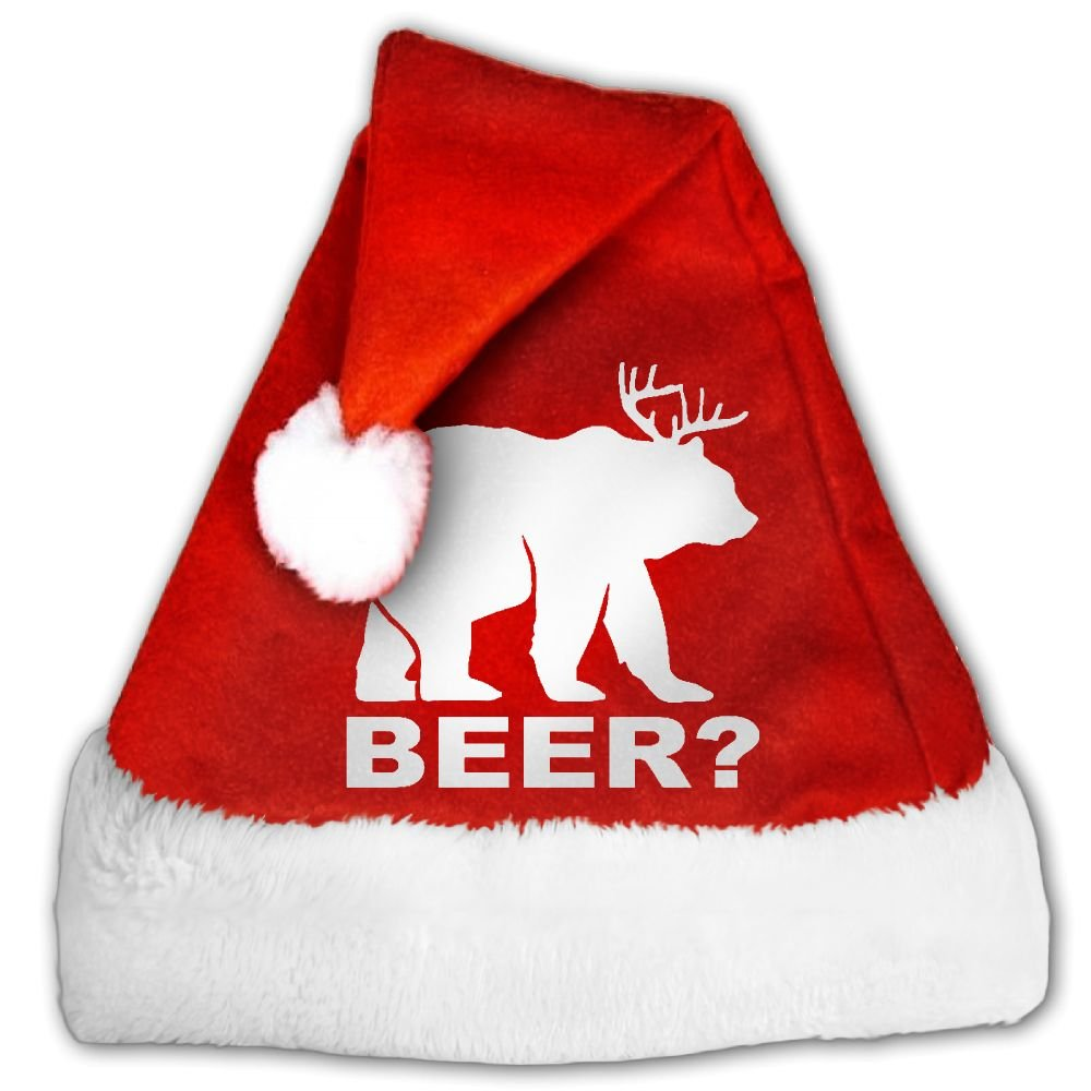 Beer Deer Bear Funny Animal Design White Christmas Hat Velvet Santa Claus Hat S Size For Kid,M Size For Adult by Spring Xmas