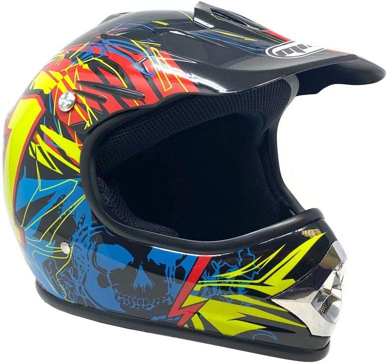 Small MMG Motorcycle Youth Kids Helmet Off-Road MX ATV Dirt Bike Motocross UTV Shiny Black with Goggles Model No 12
