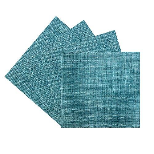 Benson Mills PM Tweed Woven Vinyl Placemat (Set of 4), Teal