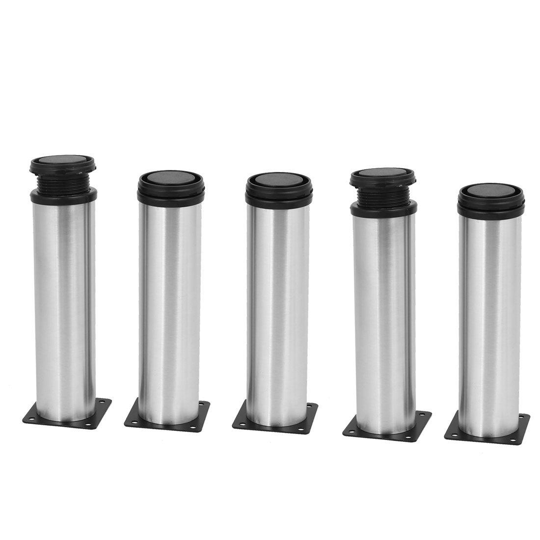uxcell 50mm x 200mm Metal Adjustable Cabinet Sofa Feet Leg Round Stand 5PCS