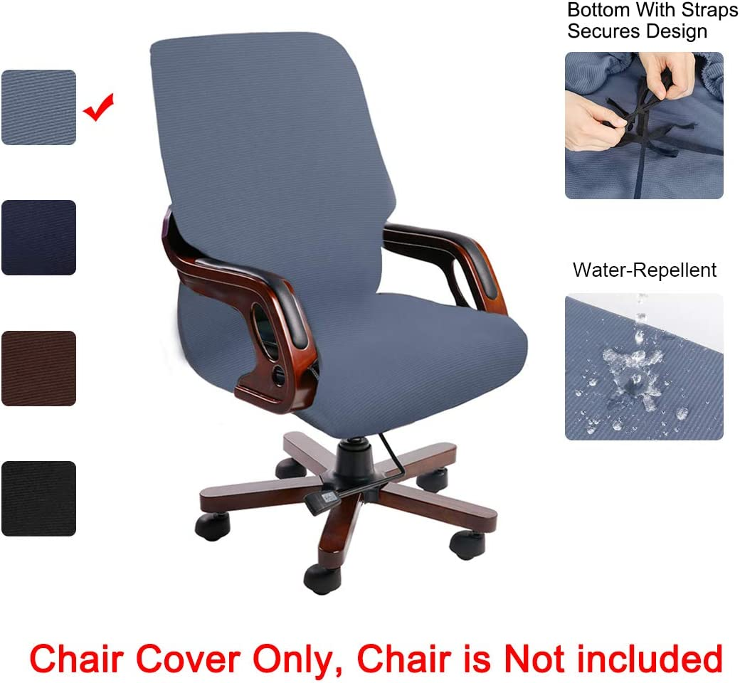 PiccoCasa Stretch Waterproof Office Chair Cover, Jacquard Stripe Computer Chair Covers High Back Desk Chair Slipcovers for Universal Rotating Boss Chair with Armrest Medium Size Steel Blue