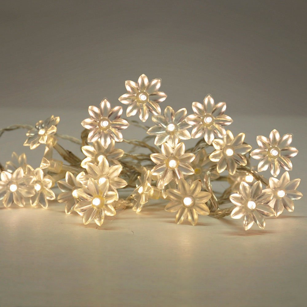 Garden mile® 30 x Indoor Petal Fairy Lights with 30 Warm White LEDs,String Lights Mains 240v Star Lights for Indoor Party Wedding Christmas,Shabby Chic Lights,Bedroom string lights