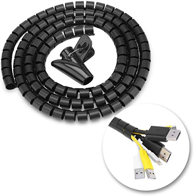 WJUAN 1.5 M Negro Organizador Cables Organizador de Cables Mesa Recoge Cables para Office y PC Escritorio Flexible Funda Organizador Cables Organizador de Cables en Espiral