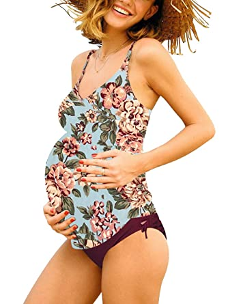 19e3d92637 Halter Maternity Tankini Floral Pregnancy Triangle Swimsuit Wine Red ...