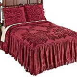 #9: Collections Etc Raised Rose Trellis Chenille Floral Bedspread with Braided Fringe Trim