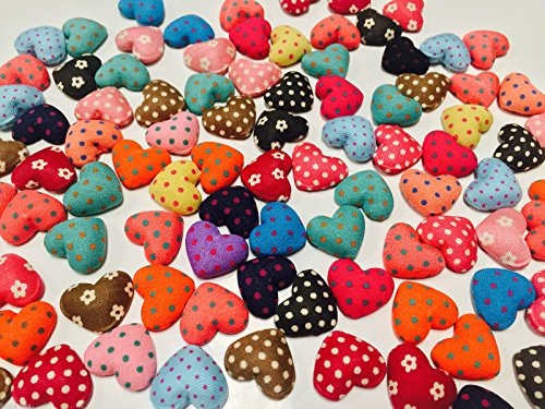 (HomeBuy Craft Heart Buttons -Fabric Covered, Polka Dot/Floral, Flat Back - 17 Mm (50))