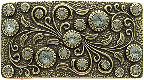 (Antique Brass Rectangle Engraved Black Diamond Belt Buckle)
