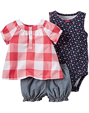 3 Piece Diaper Cover Set, Red Gingham, New Born