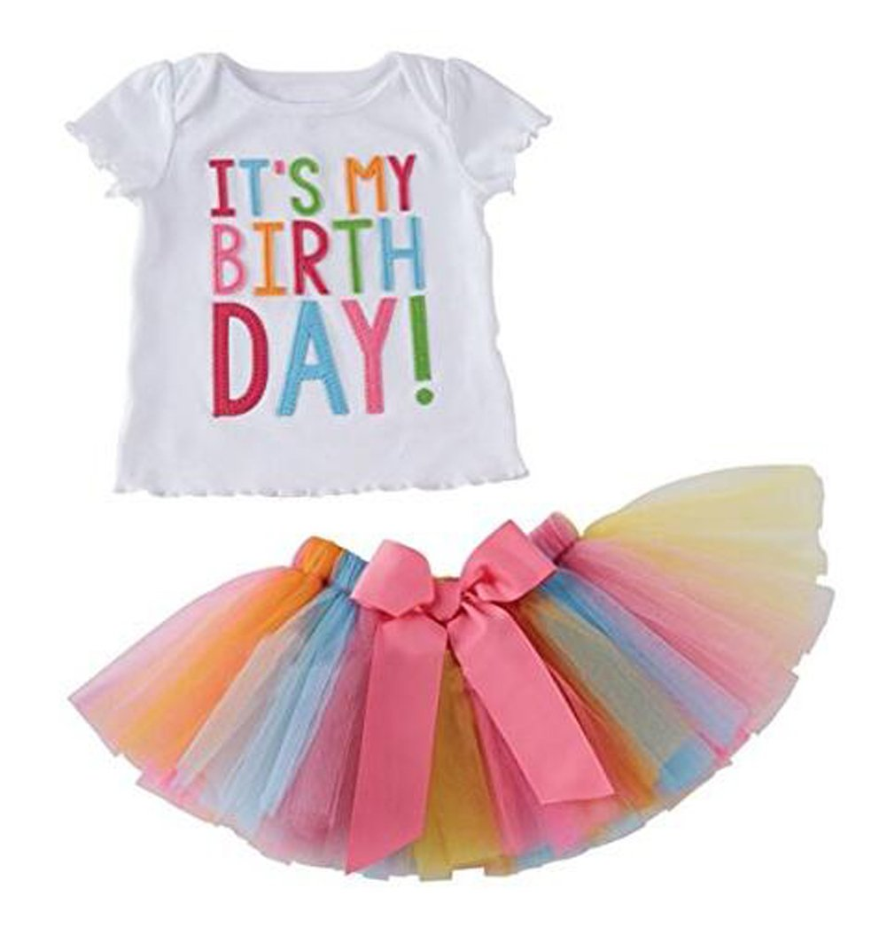 Arrowhunt Little Girls Birthday T-shirt Rainbow Mesh Tutu Skirt 2 Peices Clothing set EU-JF1089