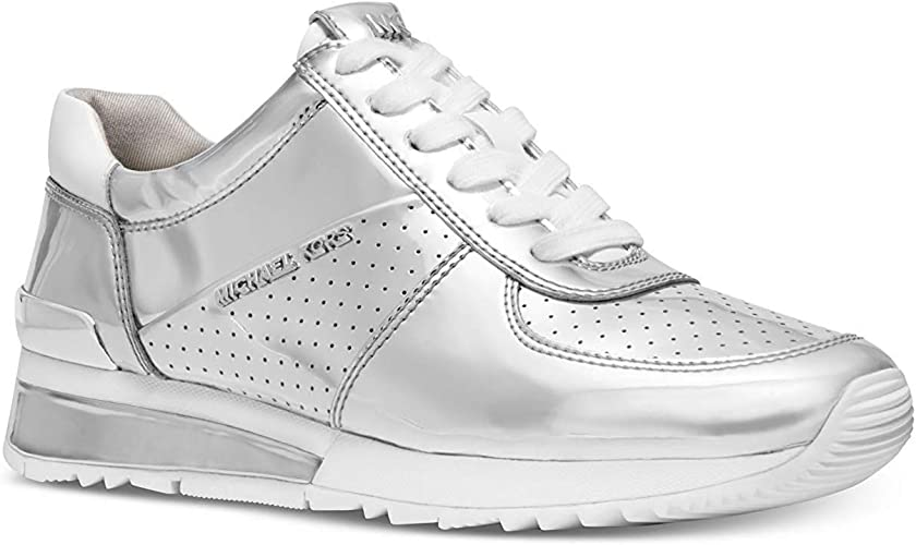 silver michael kors trainers