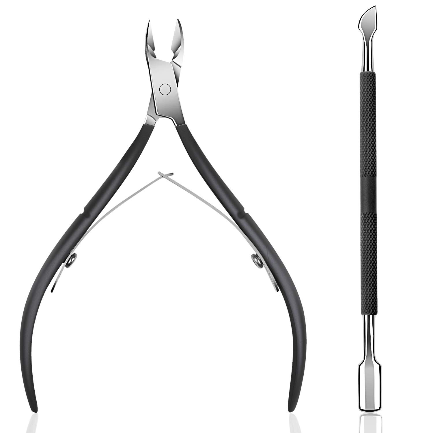 Cuticle Trimmer with Cuticle Pusher - Ejiubas Cuticle Remover Cuticle Nipper Professional Stainless Steel Cuticle Cutter Clipper Durable Pedicure Manicure Tools for Fingernails and Toenails