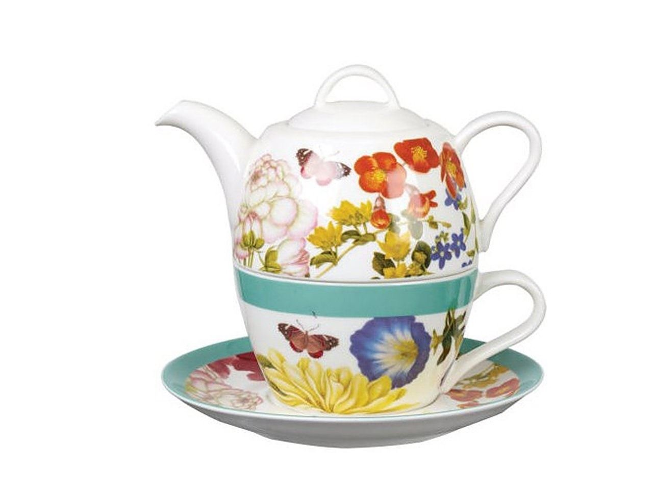 Churchill China RHS Queens Butterflies and Bloom Admiral Tea Pot Tea for One Set 11.49 fl oz