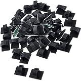 SODIAL(R) 50pcs Noir Plastique Porte-Fil 10mm Cable Attache Montage Base WCC-2
