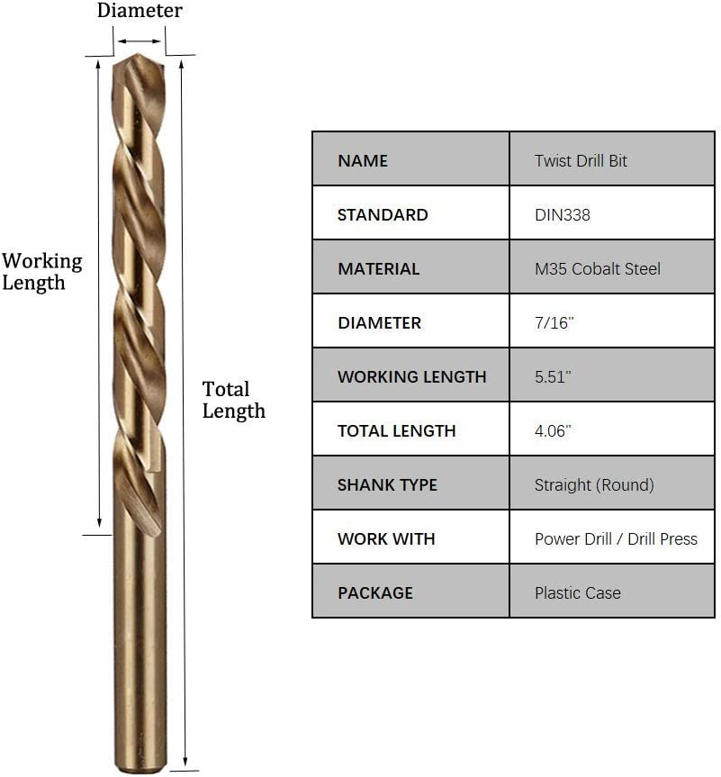 Hymnorq 7//16 Inch Dia for Stainless Steel and Cast Iron 135 Degree Split Point Extremely Heat Resistant x 5.51 Inch Long M35 Cobalt Steel Twist Jobber Length Drill Bits 2PC Set