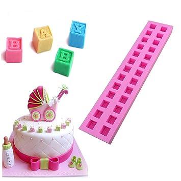 Molde de silicona para tartas con diseño de alfabeto, 26 bloques de cavidades, moldes