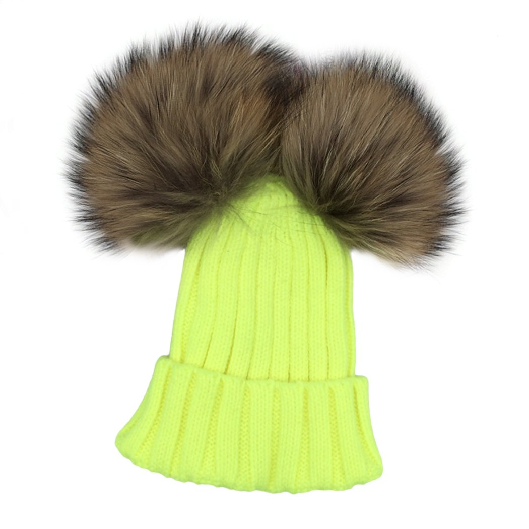 XWDA Toddler Girls Knit Double Pom Winter Beanie Hat
