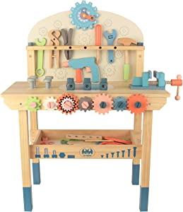 Wooden Power Tool Workbench for Kids, Building Tools Sets Pretend Play Toys - Construction Workbench with Wrench, Screwdriver, Miter Saw and Hammer - Educational Gift for Toddlers Age 3 and Up