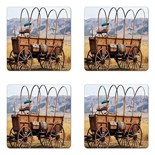 Ambesonne Western Coaster Set of 4, Photo of Old Nostalgic Wild West American Cart Carriage in the Farm Texas Style, Square Hardboard Gloss Coasters for Drinks, Brown Yellow ()