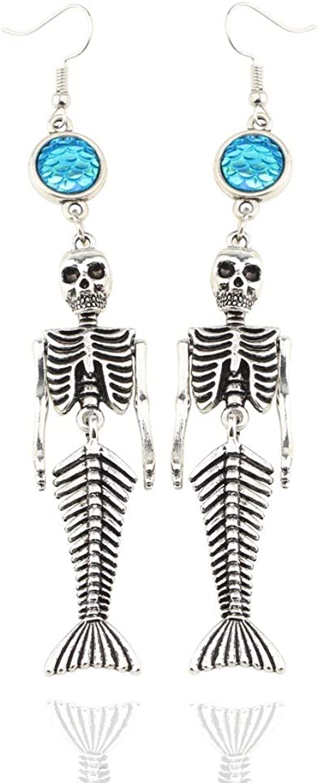 WUSUANED Mermaid Skeleton Key Chain Earrings Halloween Party Favors Funny Trick Bag Handbag Decor
