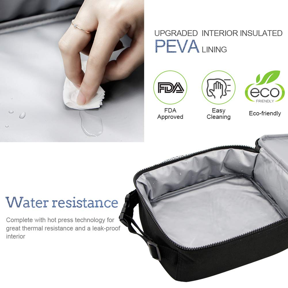 Insulated Lunch Bag, Bento Lunch Bag Thermal Cooler Meal Prep Lunch Bag with Portable Tableware Carrying Bag For Men &Women &Kids (Navy &Black)